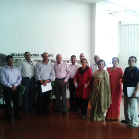 Karthik Nagendra with  Dr M L Shrikant, Hon Dean, & department heads of S P Jain Institute of management